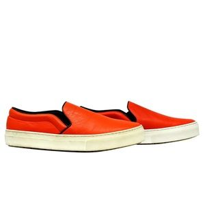 Celine Orange Leather Slip-On Sneakers 40